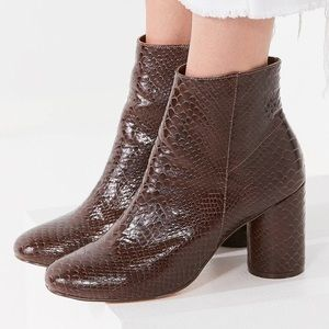 UO Sabrina Faux Snakeskin Ankle Boots
